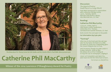 Catherine Phil MacCarthy poster for reading at St. Thomas University, Minnesota