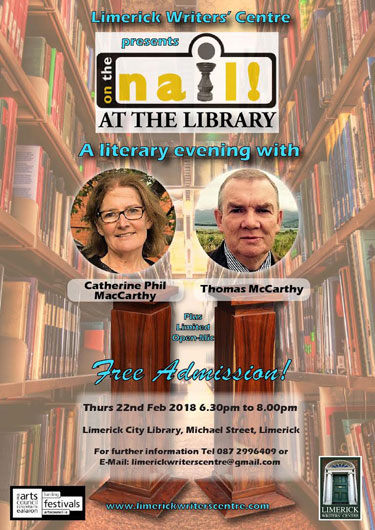 Limerick Writers' Cenre literary event, 22 February 2018